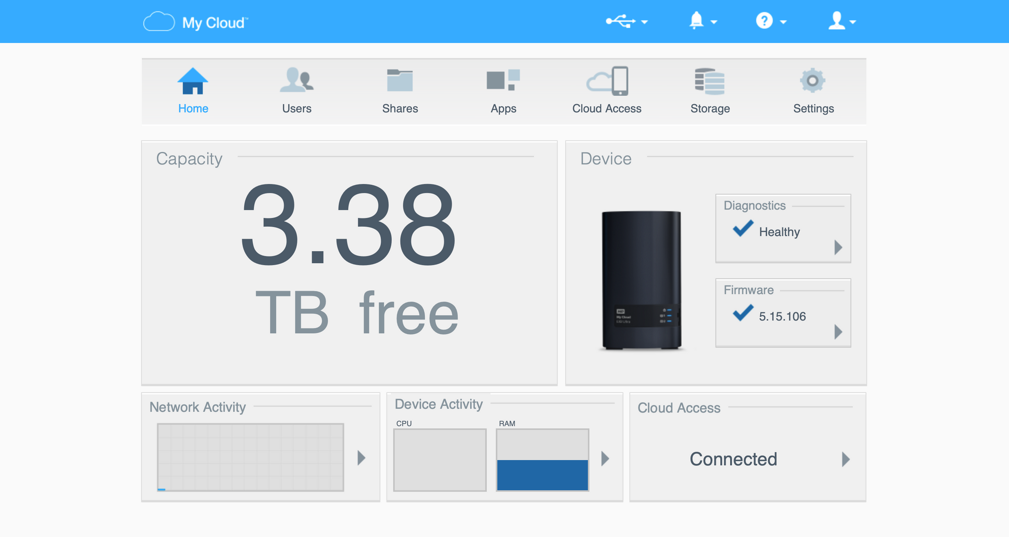 The My Cloud web interface. Not pretty, but you don't spend much time here.