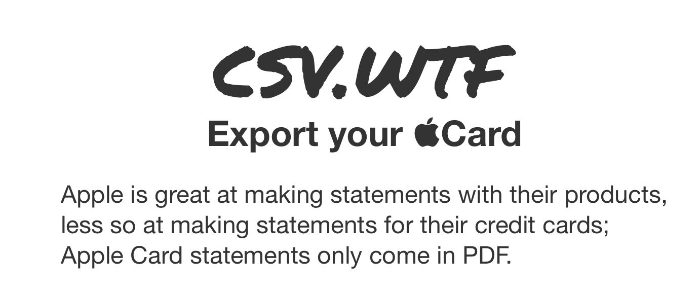 Turn Your Apple Card Statements Into CSVs